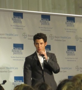 Nick Jonas speaking at Carnival for a Cure